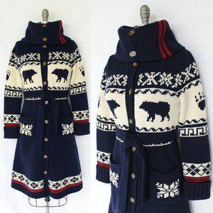 Ralph Lauren Bear Fair Isles Aztec wool Cardigan